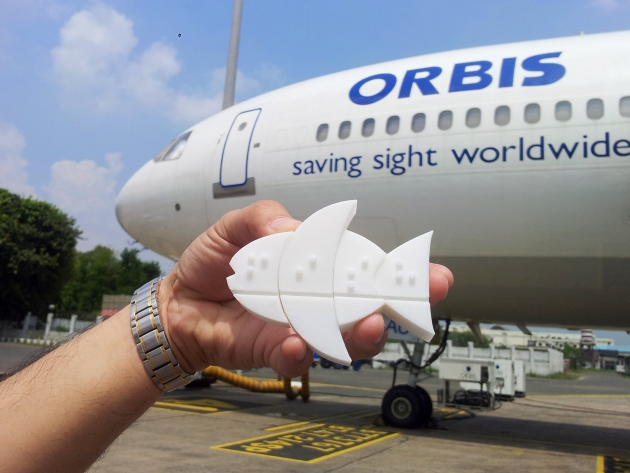 Fittle Fish proud to meet the Orbis plane.